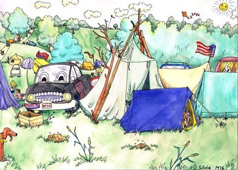 Stompin' 76 camping cartoon